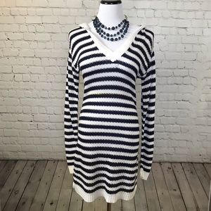 Navy and White Striped Sweater with Hood
